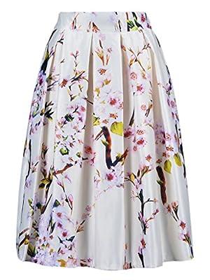 Persun Women Floral Midi A-line Skater Skirt