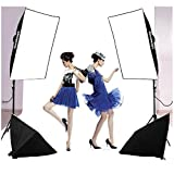 Excelvan Photo Video Studio Lighting Kit (1250W Soft Box) W / 3 Background Backdrop (White Black Green) 10 x 6.5 ft Photography Light Stand and Portable Bag