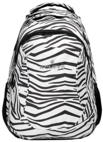 15.4 Inch White Tiger Organizer Laptop Computer Backpack School Bag W/Headphone Port /Air Mesh Padded Panel