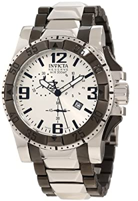 Invicta Men's 10536 Excursion Reserve Chronograph Silver Dial Two Tone Stainless Steel Watch