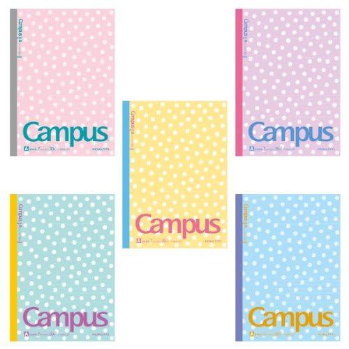 ★限定柄キャンパスノート5色パック A罫★【みずたま】