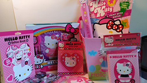 Hello-Kitty-8pc-Arts-Craft-Bundle-Set-Includes-Paint-w-Water-Book-Ruler-Jumbo-Eraser-Notepade-Thank-You-Cards-Blusher-Tattoos-Glitter-Dream-Diary