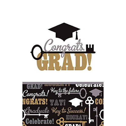 """Amscan Key To Success Graduation Party Table Cover (Pack of 3), Multicolor, 104"""" x 52"""""""