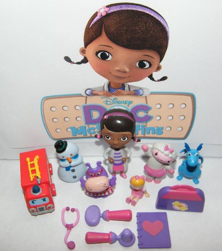 Disney Doc McStuffins Deluxe Mini Figure Set Toy Playset of 12 with Doc, Lambie, Stuffy, Chilly, Heart Diary, Medical Bag with Stethescope, Fire Truck, Doll and More!
