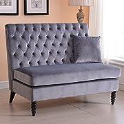 Velvet Modern Tufted Settee Bench Bedroom Sofa High Back Love Seat - Grey