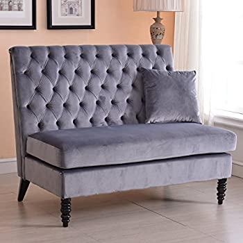 Velvet Modern Tufted Settee Bench Bedroom Sofa High Back Love Seat - Grey