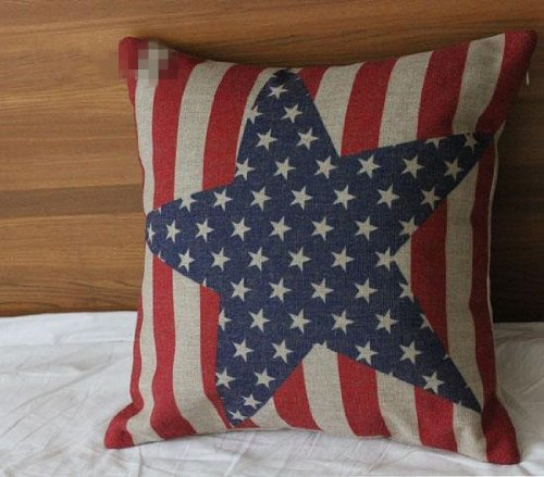 Vintage Style American Flag the Stars and the Stripes Throw Pillow Case, Pillowcase (Big Star)
