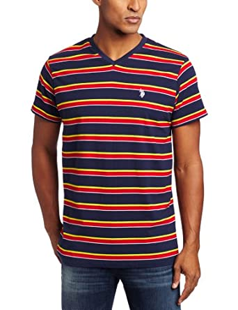 U.S. Polo Assn. Men's Striped V-Neck T-Shirt, Classic Navy, Medium