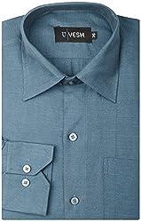 Vesh Men's Formal Shirt (v021-38, Dark Blue, 38)