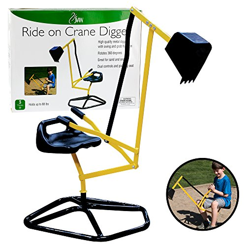 Sale!! Ride On Crane Digger- Mechanical Digging Metal Outdoor Toy- Swing and Grab Function, Rotates 360°