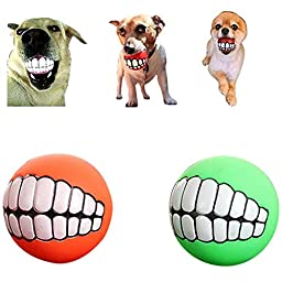 SweetPet 2pcs/lot Funny Pet Dog Ball Teeth Silicon Toy Chew Sound Dogs Play Toys