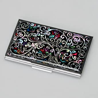 Mother of Pearl Black Business Credit Id Name Card Case Holder Metal Stainless Steel Engraved Slim Purse Pocket Cash Money Wallet with Arabesque Design