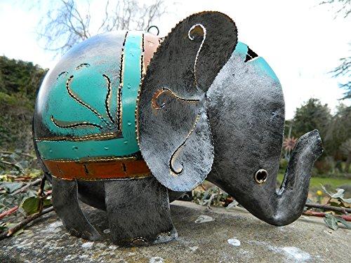 Elephant Tea Light Holder Metal Elephant Garden Lantern XL Silver Elephant 30cm. Tealight