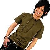 選べる8色/3サイズ/パーカー/Tシャツ/メンズ/半袖[カーキ]細/タイト[f80/L]