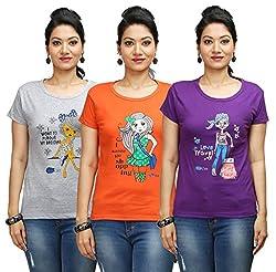 Flexicute Women's Printed Round Neck T-Shirt Combo Pack (Pack of 3)-Purple, Grey Milange & Orange Color. Sizes : S-32, M-34, L-36, XL-38