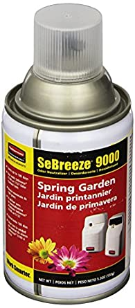 Rubbermaid Commercial FG5158000000 SeBreeze 9000 Aerosol Canister Refill for SeBreeze Odor Control Dispensers, Spring Garden