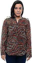CHLOE Women's Regular Fit Shirt (CH-AM-11356P23-L, Black, L)