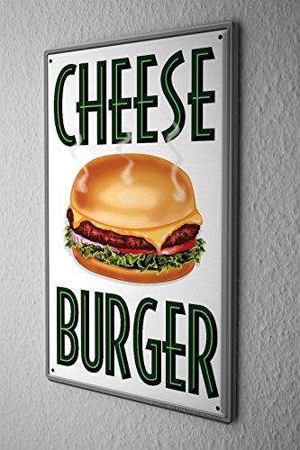 Plaque Émaillée Décor De Cuisine cheeseburger Paroi Métallique Signes 20X30 cm