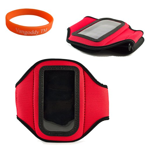 Quality Sony Xperia Ion (Att) Android Phone Red Armband With Velcro Strap Extender , Key Pocket , Sweat Resistant Lining And Earphone Cord Holder For Xperia Ion Smart Phone + Vg Wrist Band!!!