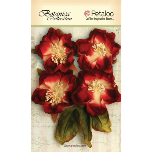 Petaloo Botanica Blooms Decorative Flower, 2.25-Inch, Red, 4-Pack