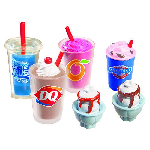 Mi World DQ Treat Set - 1 Blizzard Treat, 1 Orange Julius Smoothie, 1 Shake, 1 Artic Rush and 2 Sundaes - 1