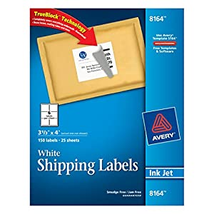 Avery Shipping Labels for Ink Jet Printers with TrueBlock Technology, 3.33 x 4 Inches, White, Pack of 150  (8164)