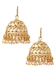 The Jewelbox Antique Gold Plated Matte Finish Pearl Jhumki Earring For Women