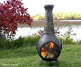 The Blue Rooster Dragonfly Chiminea in Gold Accent