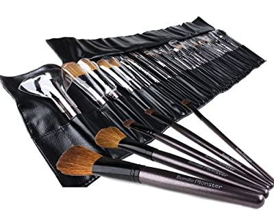 Cheapest Bundle Monster 34pc Studio Pro Makeup Make Up Cosmetic Brush Set Kit w/ Leather Case - For Eye Shadow, Blush, Concealer, Etc from Bundle Monster - Free Shipping Available