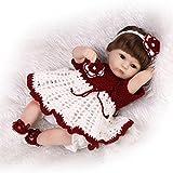 NPKDOLL 18inch renacer de la muñeca de silicona suave Simulación de vinilo de 45 cm magnética Boca realista juguete lindo niños rojos de la flor blanca de la peluca con acrílico Ojos Reborn Doll A1ES
