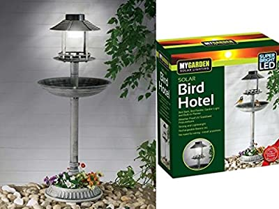 Garden Ornamental Vintage Bird Feeder Bath Hotel Feeding Table Station Solar Light Plant Planter Flowers High Quality Bird House Home Summer