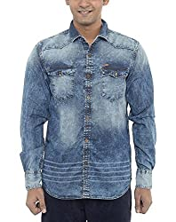American Bull Men's Casual Shirt (ABSH6022, Blue, Small)