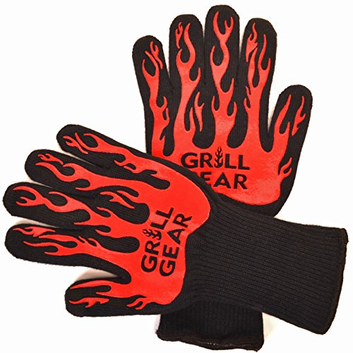 GRILL GEAR High Heat Resistant BBQ Gloves - Ideal as Oven Gloves or Cooking Gloves - Best Grill Gloves that Offer Better Flexibility, Comfort & Protection - Non-Slip Grip - Essential BBQ Accessory (Bbq Heat Resistant Gloves compare prices)