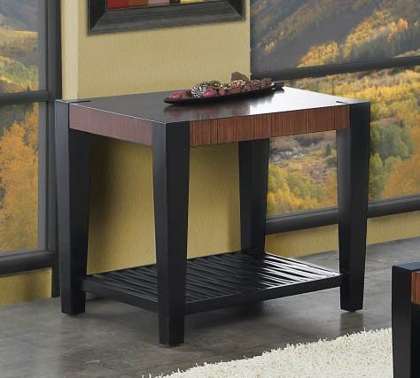 Cheap End Table with Square Tapered Legs Design in Brown Cherry and Black Finish (VF_AP-182-02)