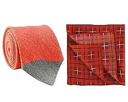 Chokore Red Silk Tie & Red and Black Plaids Pocket Square set
