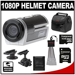 Coleman Xtreme Sports Waterproof 1080p HD Helmet Wearable Camcorder Video Camera (Silver) with 8GB Card + Case + Accessory Kit