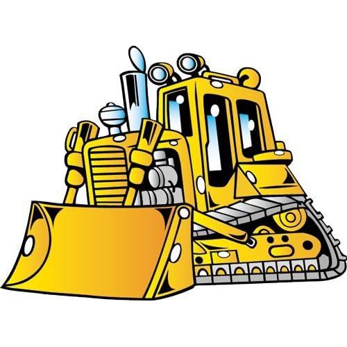 Amazon.com: Vehicle Wall Decals - Cartoon Big Yellow Bulldozer - 24