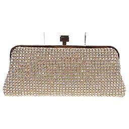Fawziya® Diamond Metal Soft Ladies Party Handbag Purse Clutch Bag-Gold