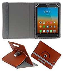 Gadget Decor (TM) PU LEATHER Rotating 360° Flip Case Cover With Stand For Lenovo CG Slate Grade k-2 - Brown