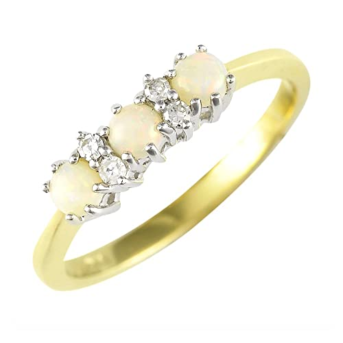Ivy Gems 9ct Yellow Gold Opal and Diamond Trilogy Ring