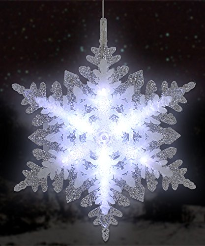 Lighted LED Snowflake Christmas Window Decoration - Battery Operated - Silver Glitter Holiday ...