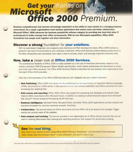 Microsoft Office 2000 Premium with Photodraw Publisher & Frontpage (Frontpage 2000 compare prices)