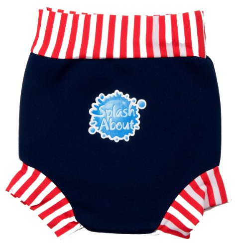 Splashabout Neoprene Happy Nappy Swim Diaper Navy/Red&White Stripe - Med 3-8Mnth front-771038