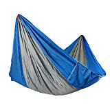 Yosoo(TM) Double Hammock - Lightweight Indoor and Outdoor Nylon Parachute Hammocks for Camping, Backpacking & Travel. Tree Ropes Included (blue & gray)