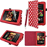 Executive PU Leather Amazon Kindle Fire HD 7 inch 2013 Case Cover Multi Function Standby Bi-Fold Stand with Built-in Magnet for Sleep / Wake Feature + Screen Protector + Capacitive Stylus Pen for New Kindle Fire HD 7-inch 2013 Tablet 16GB or 32GB - Red &
