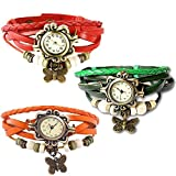 Combo of 3 VB-310 Vintage Butterfly Green + Orange + Red