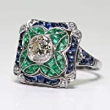 Yuren 925 Sterling Silver Vintage Emerald Ring Blue Sapphire White Topaz Ring Women Wedding Fashion Jewelry Size 6-10 (US Code 6) (Tamaño: US code 6)