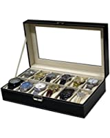 Sodynee® Watch Box Large 12 Mens Black Pu Leather Display Glass Top Jewelry Case Organizer Box