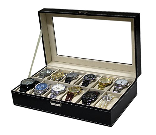 Sodynee® Watch Box Large 12 Mens Black Pu Leather