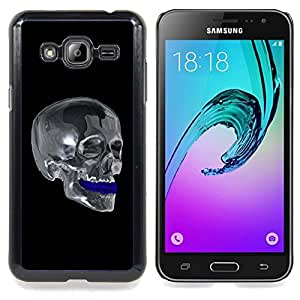 Omega Covers - Snap on Hard Back Case Cover Shell FOR SAMSUNG GALAXY J3 - Chrome Skull